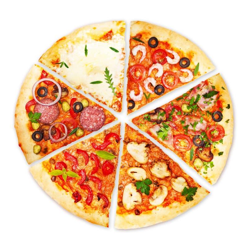 Fatia da pizza com coberturas diferentes imagens de stock royalty free