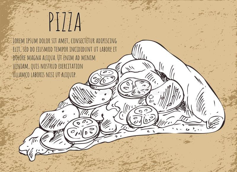 Fatia da pizza do salame no cartaz do fast food com texto ilustração royalty free