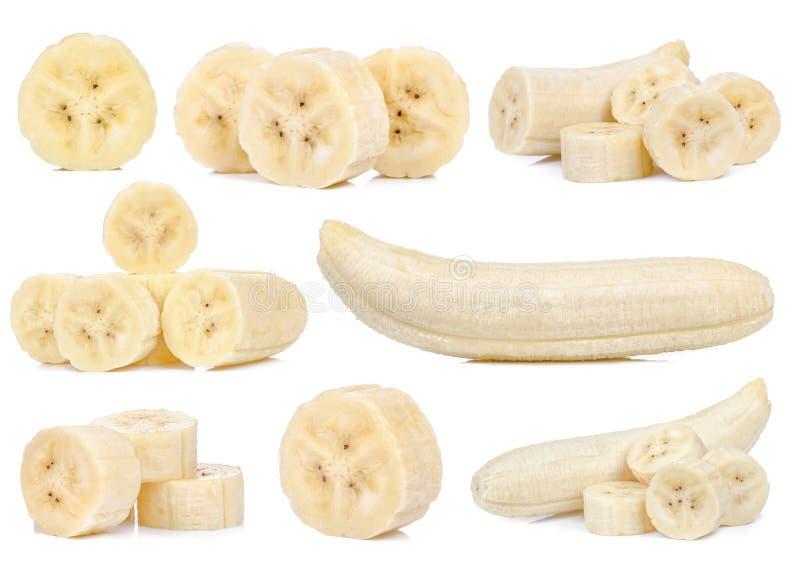 Fatia de banana isolada no fundo branco fotos de stock royalty free