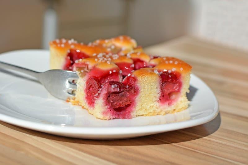 A fatia de bandeja de vista deliciosa da cereja e do ruibarbo coze a torta com forquilha em uma placa imagem de stock