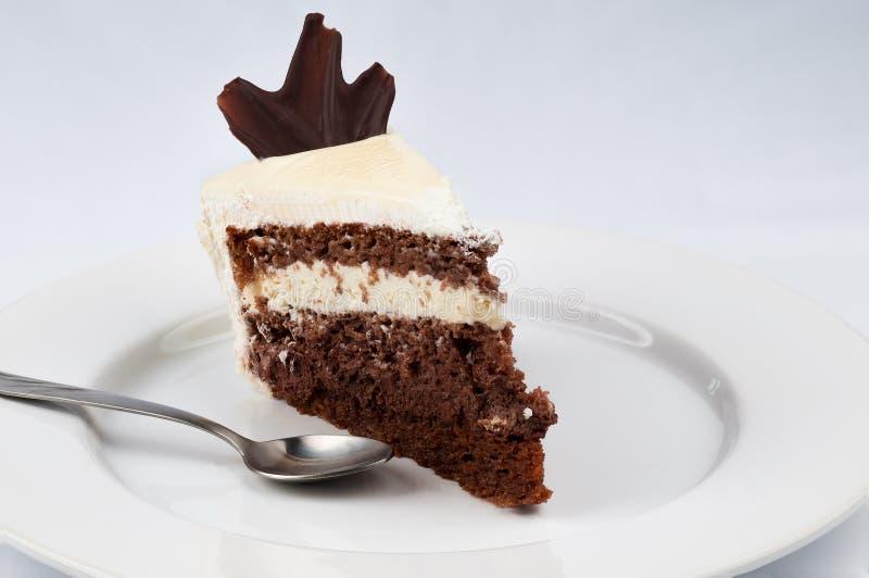 Fatia de bolo com chocolate e chantiliy com chocol branco imagens de stock
