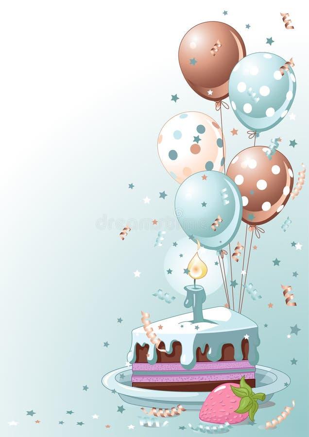 Fatia de bolo de aniversário com balões ilustração stock