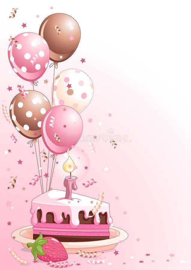 Fatia de bolo de aniversário com balões ilustração do vetor