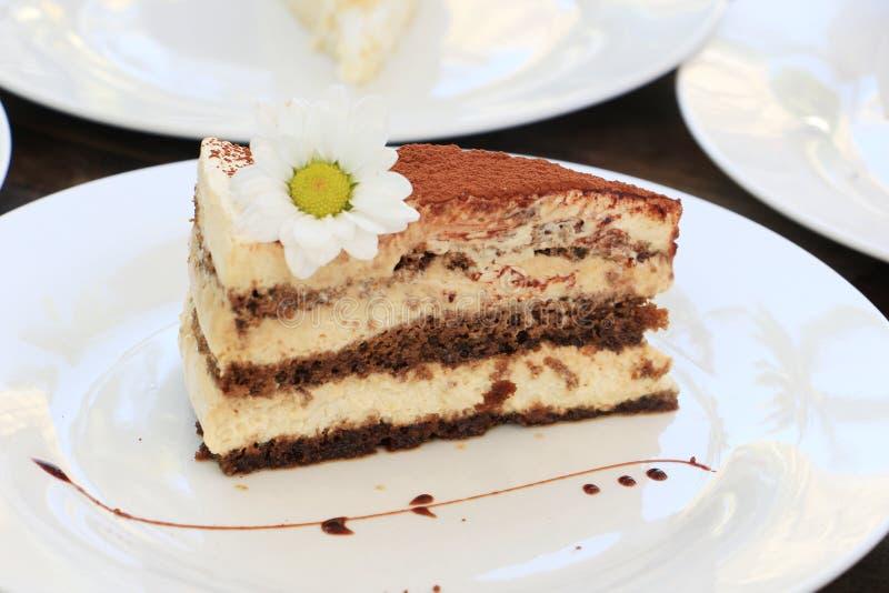 Fatia de bolo de camada do chocolate com flor da margarida fotos de stock