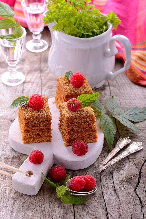 Fatia de bolo de mel mergulhado imagem de stock royalty free