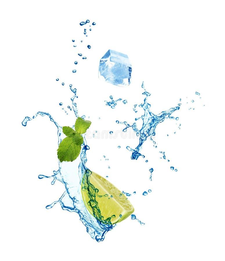 Fatia de cal suculento, de hortelã fresca e de espirrar a água fria no branco imagens de stock