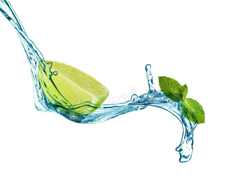 Fatia de cal suculento, de hortelã fresca e de espirrar a água fria no branco fotografia de stock
