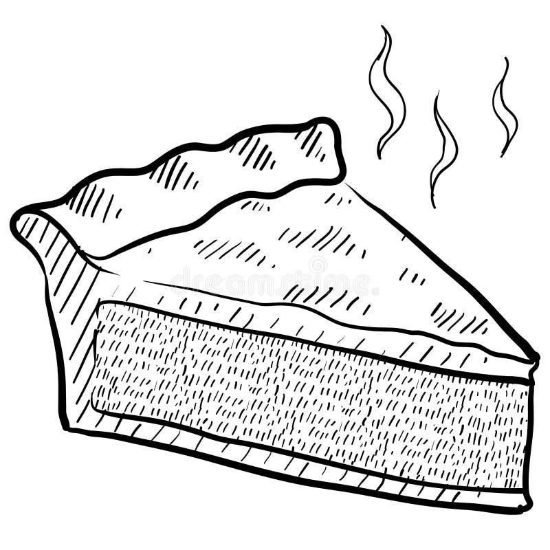 Fatia de esboço da torta ilustração do vetor