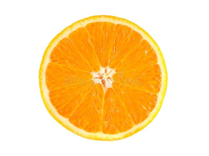 Fatia de laranja madura isolada no branco foto de stock royalty free