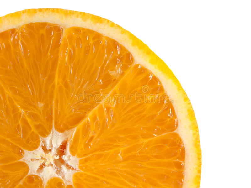 Fatia de laranja madura isolada no fundo branco fotos de stock