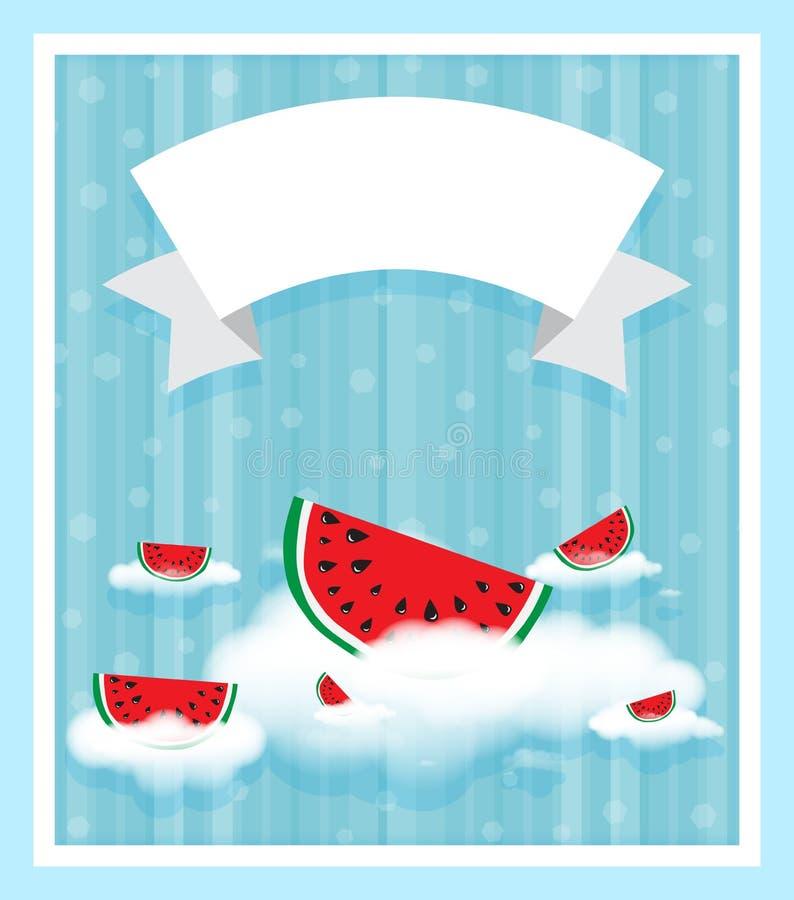 Fatia de melancia nas nuvens brancas em tiras verticais do fundo da cor azul, bokeh Fita branca da bandeira para o texto ilustração stock