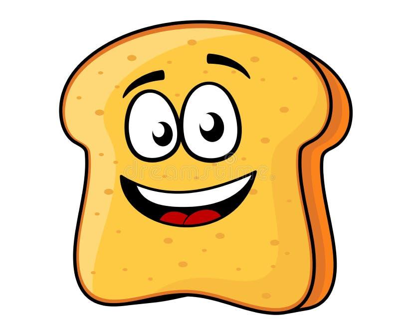 Fatia de pão ou de brinde com um sorriso de irradiação ilustração stock