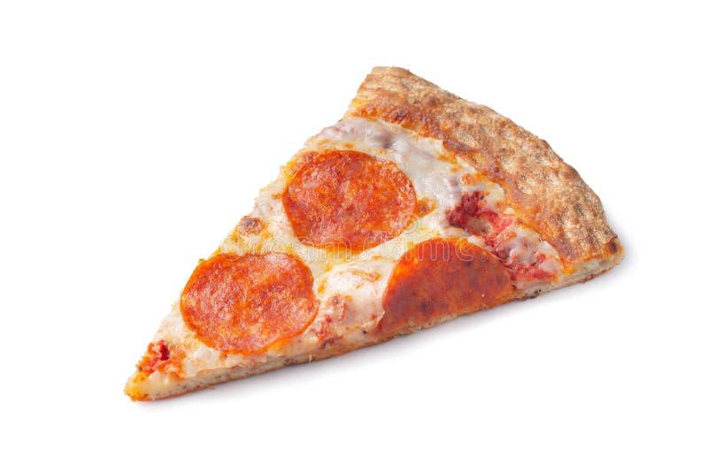 Fatia de pizza de Pepperoni original clássica italiana fresca isolada no fundo branco Vista superior fotografia de stock royalty free