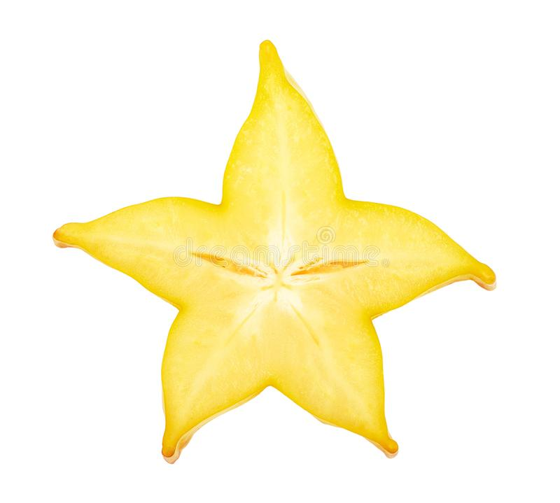 Fatia do Carambola ou do estrela-fruto isolada no fundo branco Vista superior Configuração lisa imagem de stock royalty free