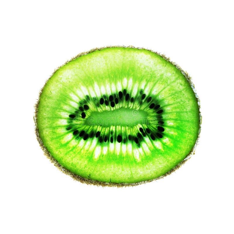 Kiwi Fruit Slice no branco imagens de stock royalty free