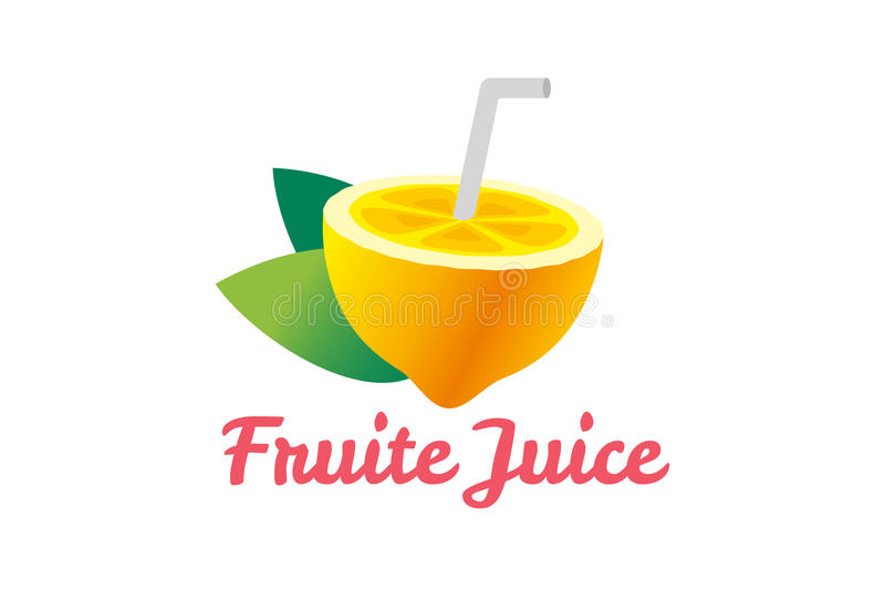 Fatia do fruto do cal ou do limão Logotipo do suco da limonada ilustração stock