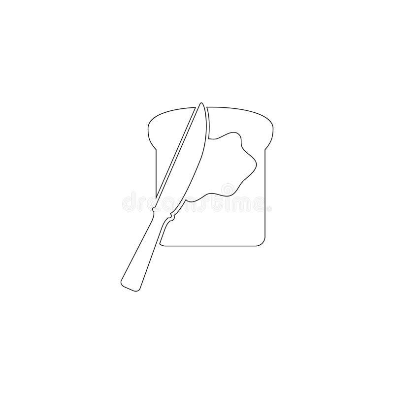 fatia do p?o do brinde com manteiga e a faca de espalhamento ?cone liso do vetor ilustração royalty free