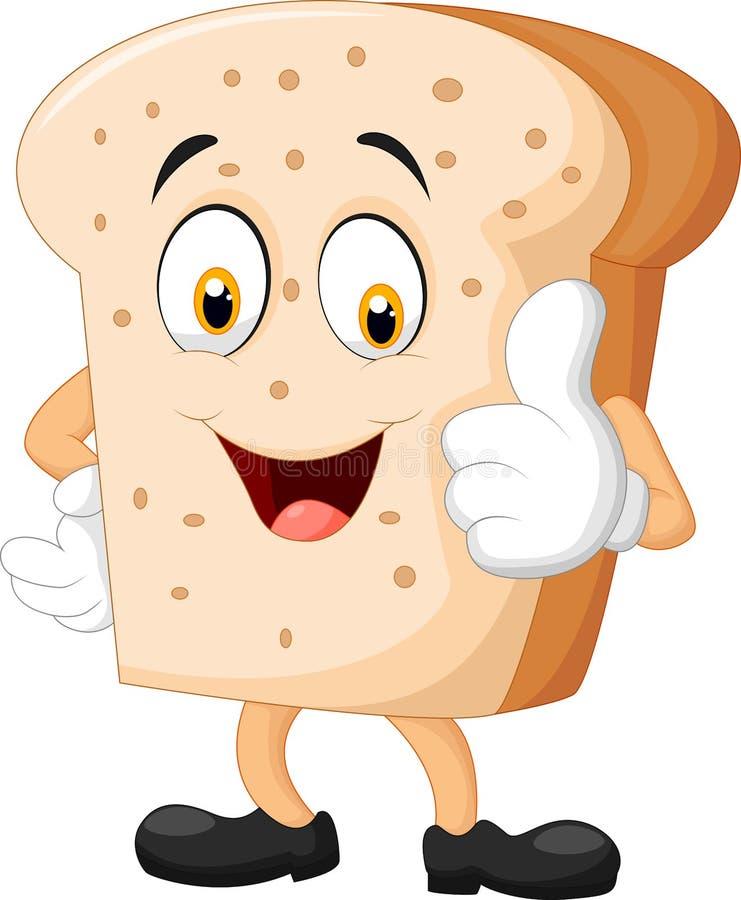 Fatia dos desenhos animados de pão que dá os polegares acima ilustração royalty free