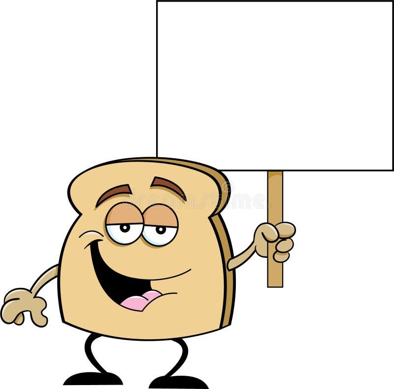 Fatia dos desenhos animados de pão que guarda um sinal ilustração do vetor