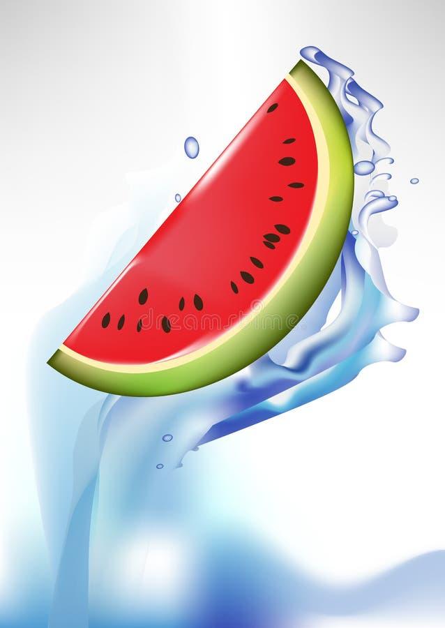 Fatia fresca da melancia no respingo da água ilustração stock