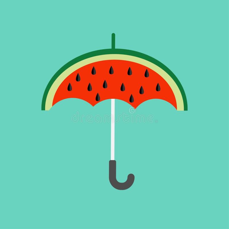 Fatia grande da melancia cortada com semente Forma do guarda-chuva Tempo de queda liso do outono do verão do ícone do projeto Fun ilustração stock