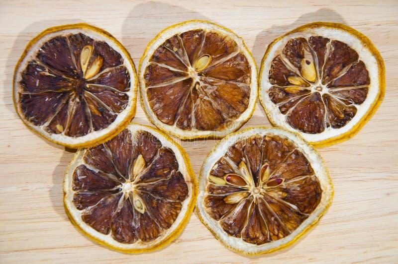 Fatia secada do limão fotografia de stock