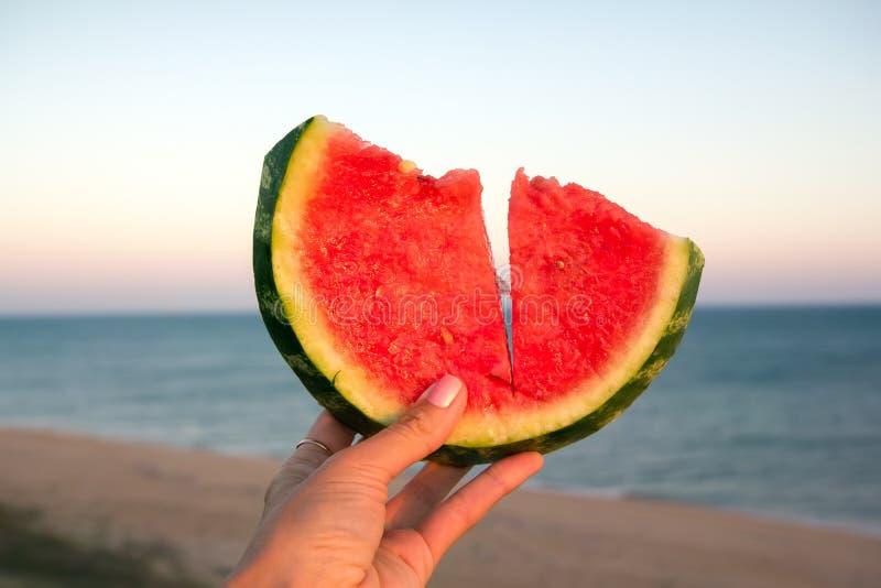 Fatia suculenta da melancia na mão de uma moça imagem de stock