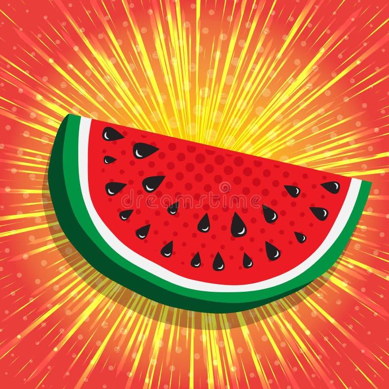 Fatia suculenta de melancia O amarelo, raios radiais brilhantes apressa linhas no fundo vermelho brilhante Fundo abstrato, vetor ilustração do vetor
