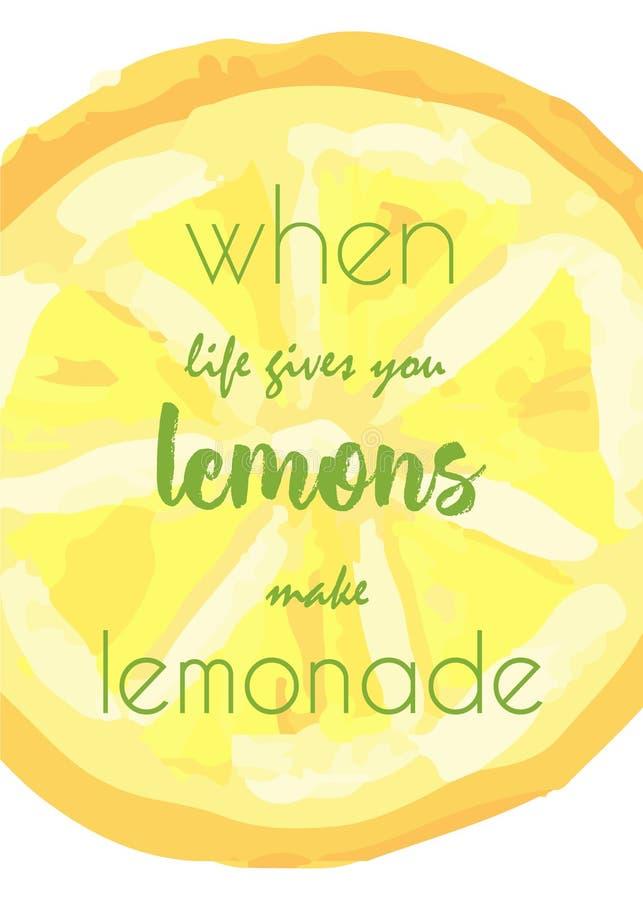 Fatia tirada mão do limão com citações Ilustração de pinturas de óleo fotos de stock