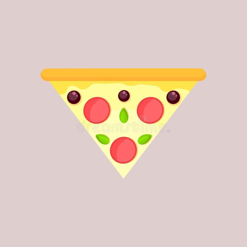 Fatia triangular de pizza de queijo com azeitona, manjericão e pepperoni ilustração do vetor
