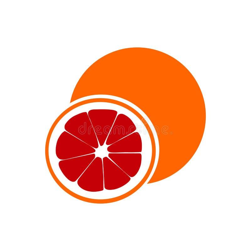 Fatia vermelha da laranja pigmentada isolada no fundo branco como o elemento do projeto de pacote ilustração stock