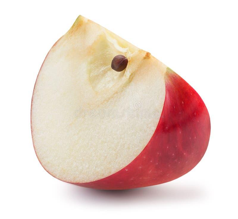 Fatia vermelha da maçã isolada em um fundo branco imagens de stock royalty free