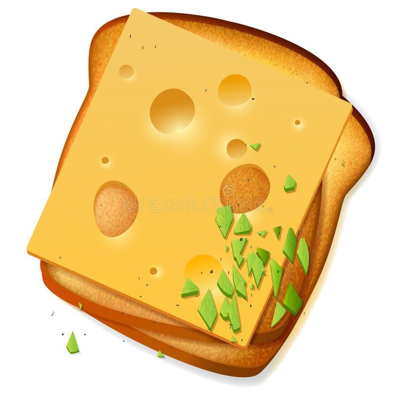 Fatias brindadas do pão com queijo cheddar ilustração stock