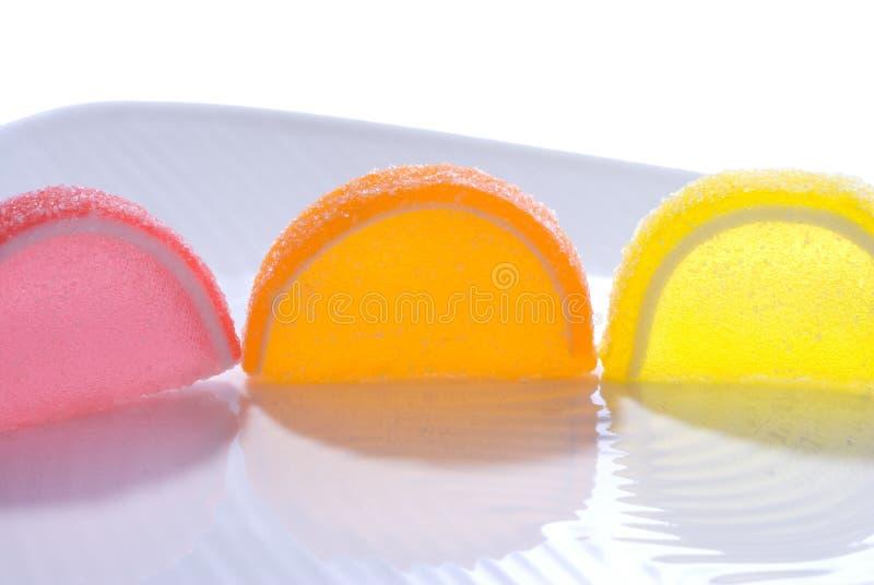 Fatias coloridas dos doces da geléia fotografia de stock