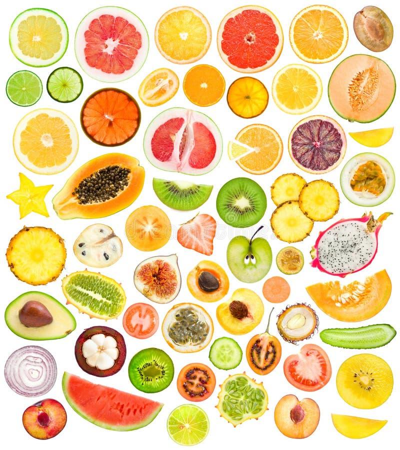 Fatias da fruta e verdura imagens de stock