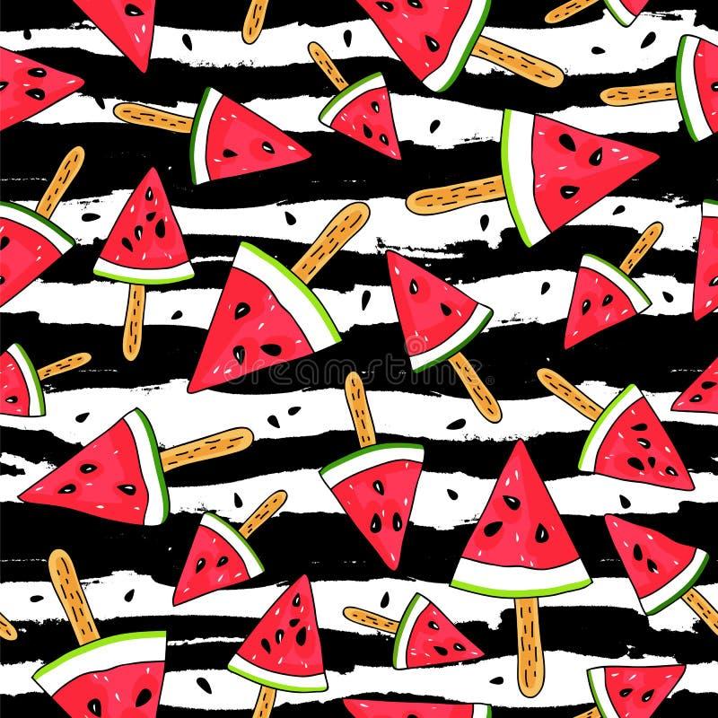 Fatias da melancia em uma vara ilustração do vetor