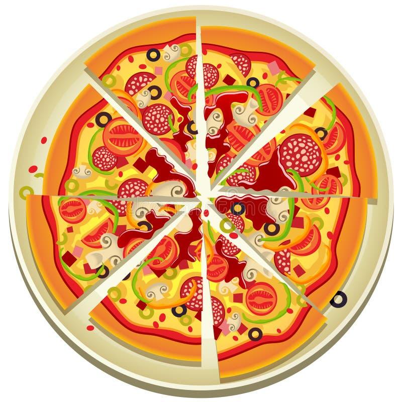 Fatias da pizza na placa ilustração royalty free