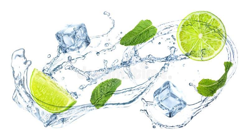 Fatias de cal suculento, de hortelã fresca e de espirrar a água fria no branco foto de stock royalty free