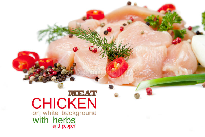 Fatias de carne da galinha no fundo branco imagem de stock