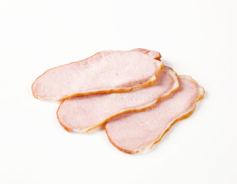 Fatias de carne fumada fotografia de stock