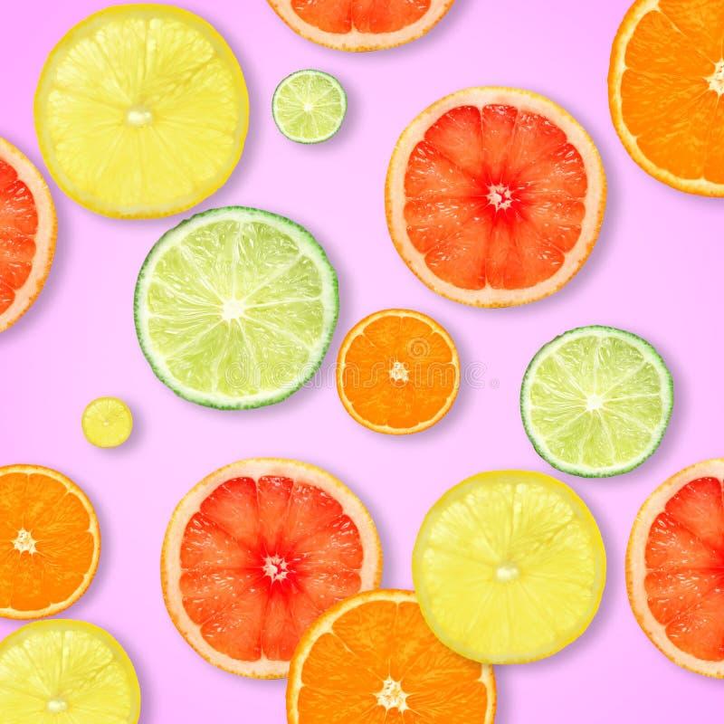 Fatias de citrinas frescas no fundo da cor imagem de stock