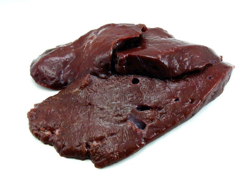 Fatias de fígado fresco foto de stock