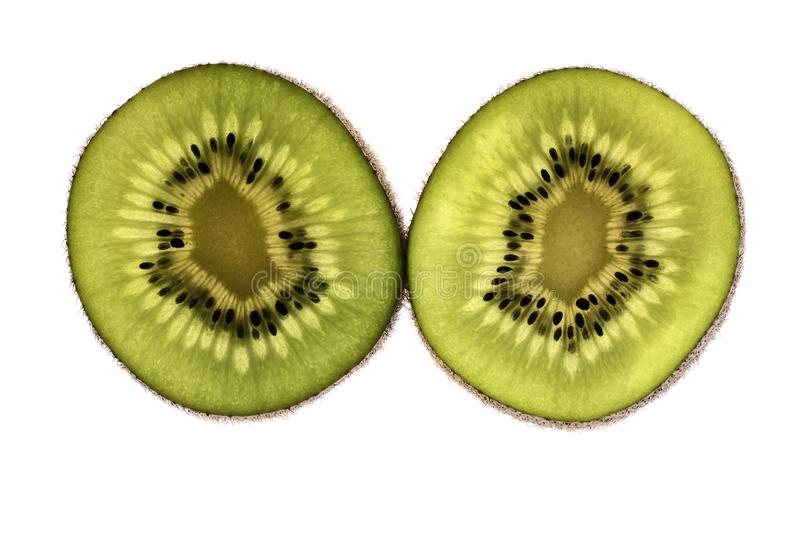 Fatias de fruto de quivi isoladas no fundo branco fotos de stock royalty free