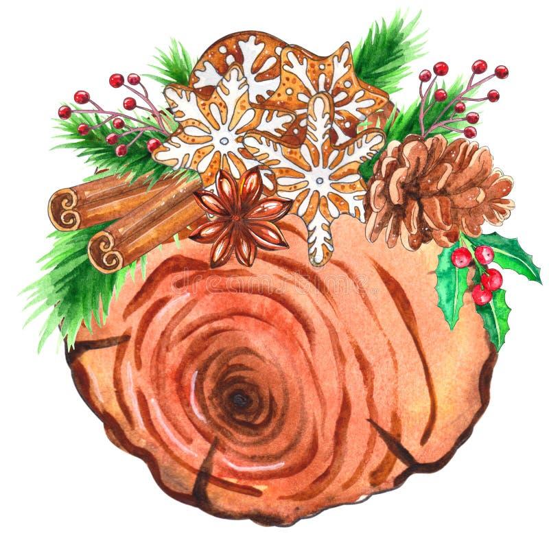 Fatias de madeira da aquarela com decoração do Natal ilustração stock