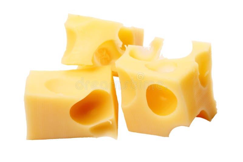 Fatias de queijo no branco fotos de stock