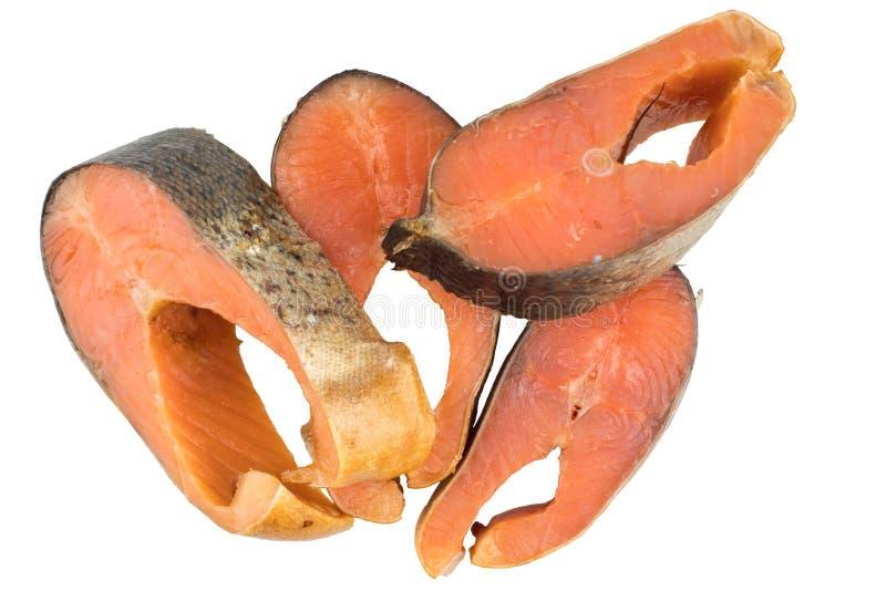 Fatias de Salmon Or Humpback Salmon Isolated cor-de-rosa fumado frio sobre imagem de stock