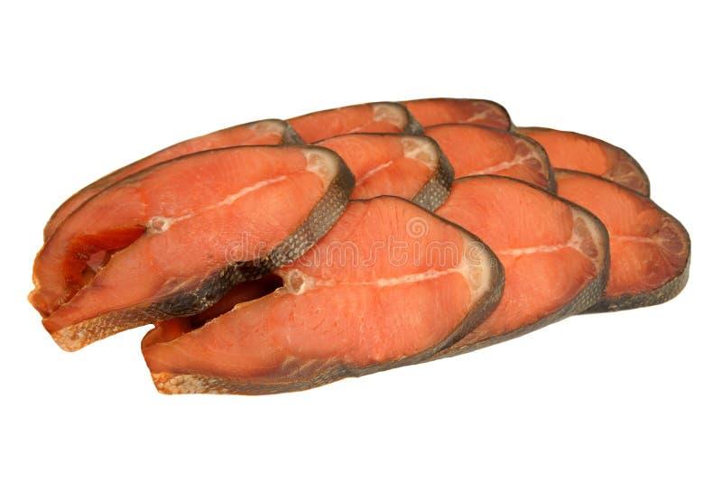 Fatias de Salmon Isolated On White Background cor-de-rosa fumado frio imagem de stock royalty free