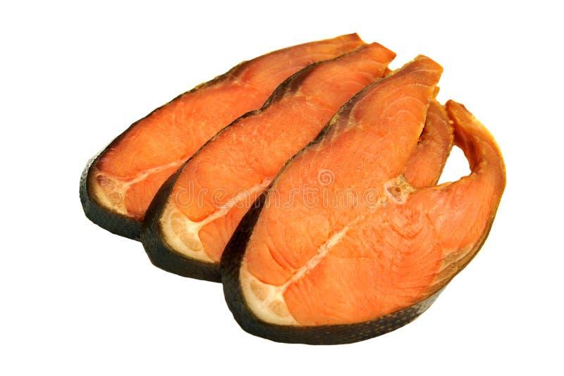 Fatias de Salmon Isolated On White Background cor-de-rosa fumado frio fotografia de stock royalty free