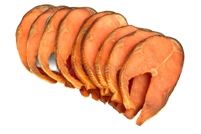 Fatias de Salmon Isolated On White Background cor-de-rosa fumado frio imagens de stock