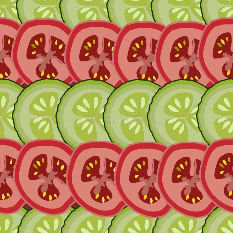 Fatias de tomates e de pepinos, teste padrão seemless abstrato, vetor, verde e vermelho ilustração do vetor